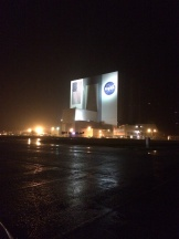 A rainy night at KSC, on the bus waiting to go out to the causeway. But the launch was scrubbed that night. Boo!