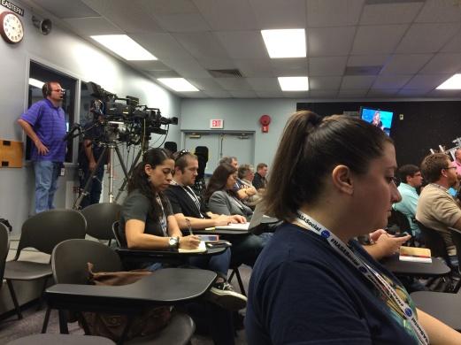 The NASA TV broadcast room and fellow socialites.